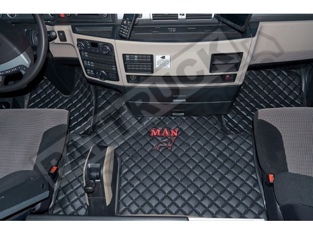 MAN TGX TRUCK ECO LEATHER FLOOR SET-BLACK - AFTER 67 PLATE - LEFT HAND DRIVE
