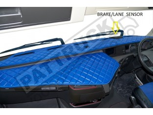 TRUCK ECO LEATHER DASH MAT WITH SPACE FOR SENSOR FIT VOLVO FH4 2013+ [ BLUE ]