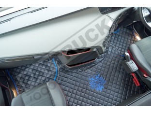 TRUCK ECO LEATHER FLOOR SET-BLACK WITH BLUE VIKING LOGO FIT VOLVO FH4 2013+[ AUTOMATIC ]-FOLDING PASSENGER SEAT