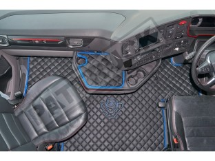 ECO LEATHER FLOOR MAT -BLACK /BLUE FIT SCANIA S New Generation [ 2017+ ] SWIVEL/AIR PASSENGER SEAT