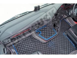 ECO LEATHER FLOOR MAT -BLACK/RED [ V8] FIT SCANIA S New Generation [ 2017+ ] FLIP PASSENGER SEAT
