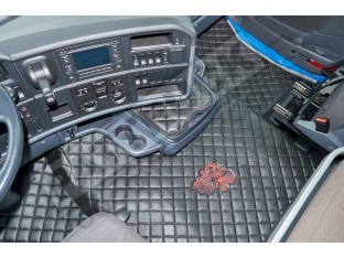 TRUCK ECO LEATHER FLOOR SET-BLACK/RED - FIT SCANIA R STREAMLINE 2013-17 FOLDING PASSENGER SEAT- LEFT HAND DRIVE