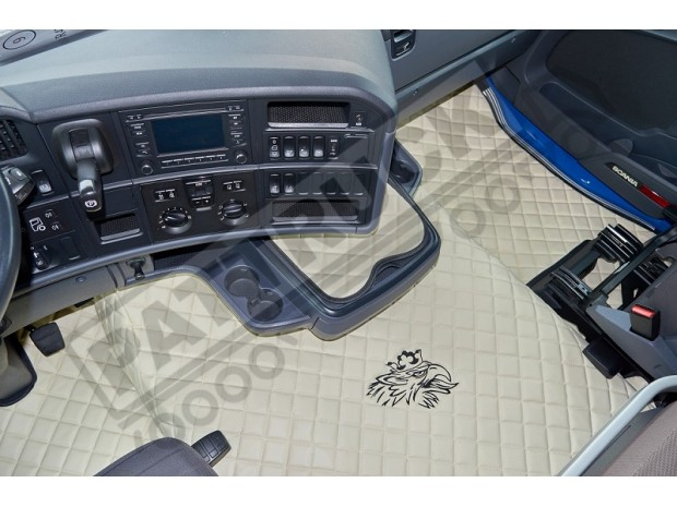 TRUCK ECO LEATHER FLOOR SET-BLACK/RED - FIT SCANIA R STREAMLINE 2013-17 LEFT HAND DRIVE