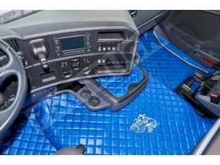 TRUCK ECO LEATHER FLOOR SET- BLUE/WHITE - FIT SCANIA R STREAMLINE 2013-17 FOLDING PASSENGER SEAT- LEFT HAND DRIVE