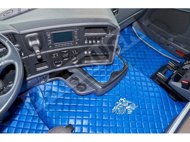TRUCK ECO LEATHER FLOOR SET- BEIGE/BLACK - FIT SCANIA R STREAMLINE 2013-17 FOLDING PASSENGER SEAT- LEFT HAND DRIVE