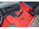 TRUCK ECO LEATHER FLOOR SET- RED/BLACK - FIT SCANIA R STREAMLINE 2013-17 FOLDING PASSENGER SEAT- LEFT HAND DRIVE