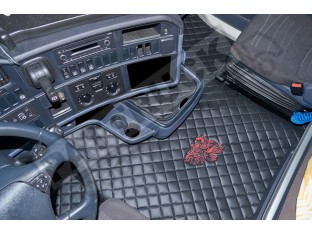 TRUCK ECO LEATHER FLOOR SET-BLACK/RED - FIT SCANIA R STREAMLINE 2013-17 TWIN AIR SEATS- LEFT HAND DRIVE