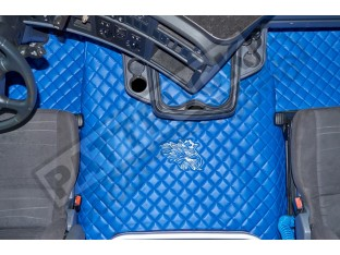 TRUCK ECO LEATHER FLOOR SET-BLUE/WHITE - FIT SCANIA R STREAMLINE 2013-17 TWIN AIR SEATS- LEFT HAND DRIVE