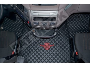 TRUCK ECO LEATHER FLOOR MATS SET FIT DAF XF 106 AUTOMATIC AFTER 67 PLATE -BLACK WITH BLUE - LEFT HAND DRIVE
