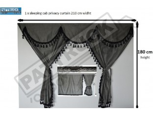 TRUCK CURTAINS FULL SET- GREY WITH BLACK TASSELS FIT DAF SUPER SPACE CAB
