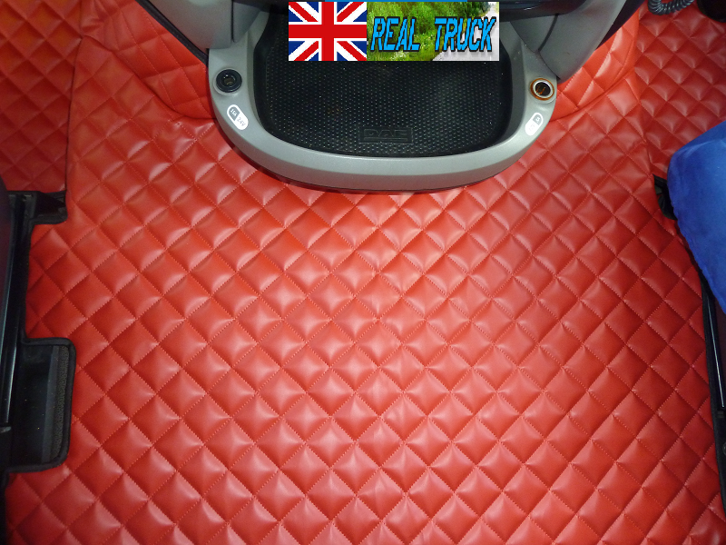 AFTER 67 PLATE RED TRUCK ECO LEATHER FLOOR MATS SET FIT DAF XF 106 AUTOMATIC