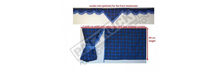 Completely new & stylish set of curtains for truck cab - polyviscose tartan